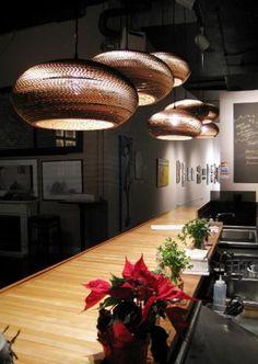 Hanglamp wit of beige design karton ellips Ø met fitting Rockett St George, Kitchen Art, Recycling, Ceiling Lights, Living Room, Lighting, Brown, Table, Inspiration