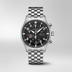 Fasten securely and take off: this iconic Pilot's Chronograph with its characteristic instrument look will equip you for any challenge, whether it's in the cockpit or on terra firma. Iwc Watches, Watches For Men, Stainless Steel Bracelet, Stainless Steel Case, Iwc Pilot Chronograph, Stud Earrings For Men, Watch Companies, Casio Watch, Leather Men