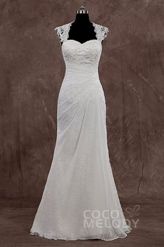 New+Style+Queen+Anne+Floor+Length+Chiffon+Ivory+Sleeveless+Wedding+Dress+with+Appliques+LD3618