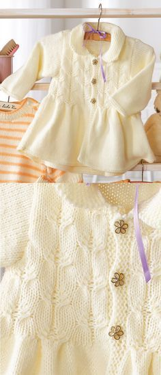 Free Baby Knitting Pattern for a Baby Girl's Jacket. Free knitting pattern for baby girls. Cardigan Bebe, Knitted Baby Cardigan, Knit Baby Sweaters, Baby Pullover, Knitted Baby Clothes, Baby Knits, Baby Poncho, Knitting Sweaters, Cardigan Sweaters