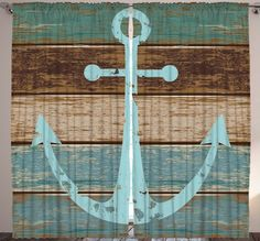 Rustic Anchor CURTAIN PANEL SET Nautical Wood Plank Deck Boat Ship Home Decor  #Ambesonne #Modern