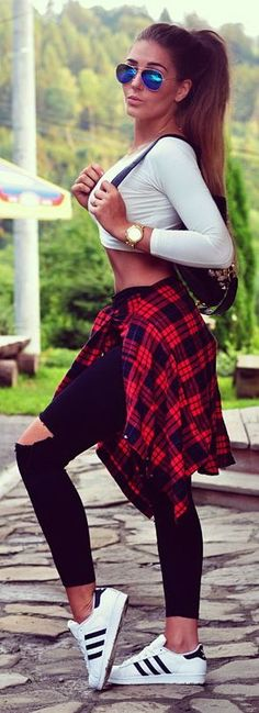 White Top + Ripped Black Denim + Adidas + Plaid
