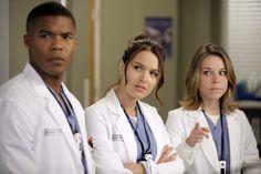 "Gaius Charles, Camilla Luddington, and Tina Majorino on Grey's Anatomy from ""Beautiful Doom""."