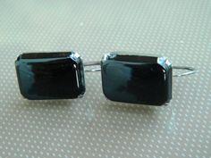 Sterling Screw Back Earrings with Large Emerald Cut Black Onyx Stone by EMERALDLAKEJEWELS on Etsy