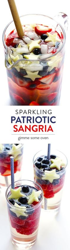 Fourth of July Party Cocktail - Sparkling Red, White & Blue Sangria Snacks Für Party, Party Drinks, Fun Drinks, Beverages, Parties Food, Party Games, Party Desserts, Mixed Drinks, Fourth Of July Food