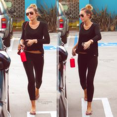 62. All black, VS leggings and simple tee, top knot, sunnies, flip flops.