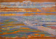 Mondriaan, Piet - View from the dunes with beach and piers - 1909 (by *Huismus)