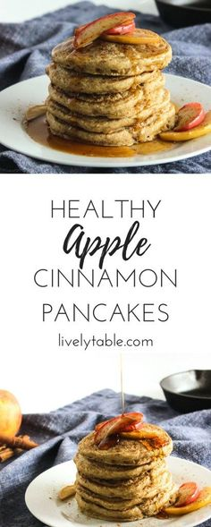 Healthy Apple Cinnamon Pancakes full of fresh apples, whole grains and delicious cinnamon make the perfect weekend breakfast! via livelytable.com