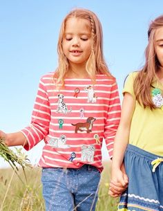 Bouncing bunnies, buzzing bees and prize winning pups adorn our lovely new appliqué tees - perfect for layering in three pretty colours.