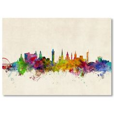 'Glasgow Scotland Skyline' Painting on Wrapped Canvas Americanflat Size: H x W Canvas Wall Art, Wall Art Prints, Skyline Painting, Skyline Art, Glasgow Scotland, Scotland Uk, Paint Splash, Acrylic Wall Art, Artist Canvas