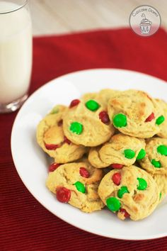 Christmas M&M Cookies... 1 c. butter, at room temperature 2 eggs 1 c. sugar 1 c. brown sugar 1 tsp. vanilla 1 tsp. salt 1 tsp. baking soda 1 small box instant vanilla pudding 2 c. flour 1 c. Christmas M&M's