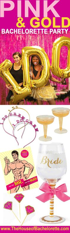 Bachelorette Ideas - try this fun and modern pink & gold color combo at your next Bachelorette Party!