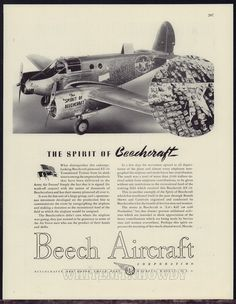 1943 WW II BEECHCRAFT AT-10 Army Air Forces AAF Trainer WWII Beech Aircraft AD