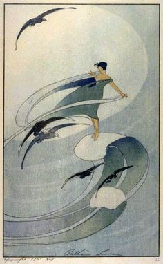 Wind Sprite, 1920, by Bertha Lum (American, 1869–1954). Song of the Brook, 1916, by Bertha Lum (American, 1869–1954). Woodblock (according to WikiP, she is known for helping to make the Japanese and Chinese woodblock print known outside of Asia)