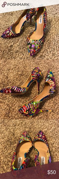 Steve Madden jewel heels 8.5 Amazing heels! I called them my Carrie Bradshaw heels. They are fabulous. I am a size 9 1/2 but I purchased an 8 1/2  because it was a better fit without slipping Steve Madden Shoes Heels