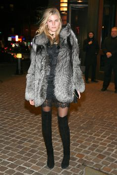 Maryna Linchuk has the perfect pins to pull-off these fab over-the-knee boots.