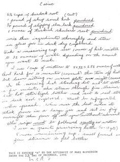 Mary McPherson Affidavit. Made Rene Caisse's Essiac formula public.