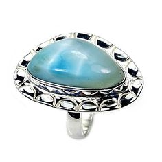 'Blue Paradise' Sterling Silver Rare Genuine Dominican Larimar Ring, Size 7.75