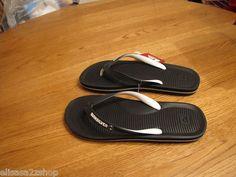 Mens Quiksilver flip flops thongs sandals 9 cush soft footbed black haleiwa NEW