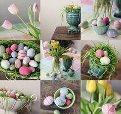 osterdekorationen ideen haus eier tulpen kunst gras tischdeko