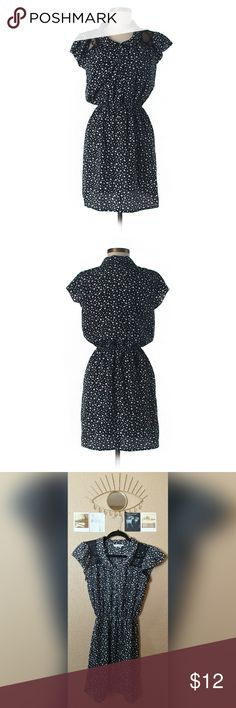 Cute black and white star print dress, medium Black dress with white star print, lace detailing on shoulders, button down bodice, elasticated waist, and feminine flutter sleeves by brand Speechless. Size medium, hardly worn. Like new with no damage. Speechless Dresses