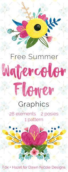 Free Summer Watercolor Flower Graphics -- Fox + Hazel for Dawn Nicole Designs Free Watercolor Flowers, Floral Watercolor, Tattoo Watercolor, Mandala Art, Dawn Nicole, Flower Svg, Free Flower Clipart, Ideas Hogar, Flower Graphic