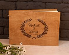 Rustic guest book Wedding guestbook Custom Engraved Wooden