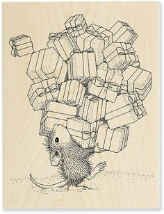 Stampendous Gifts Galore - House-Mouse Rubber Stamp. Item # HMR06 Monica's friend is struggling mightily with this pile of Christmas gifts in this darling image