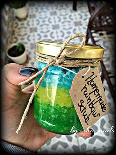 My new homemade scrub! Green for Apple,yellow for caramel & blue for biscuit! #scrub #homemade #biscuit #caramel #apple