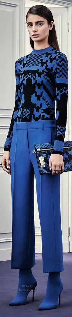 The suit pants (masculine). Dress cobalt blue form top to toe.   Versace.Pre-Fall 2015.