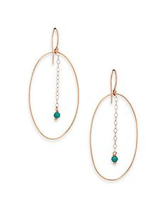 4ff74f836692 Ginette NY - Fallen Sky Turquoise   18K Rose Gold Ellipse Drop Earrings