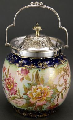 Antique Porcelain Biscuit Jar with Carnations