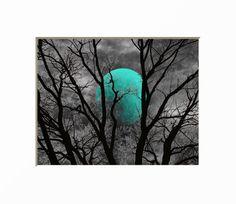 Black White Teal Decor Teal Moon Tree Decor Teal Bedroom