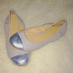 NY&CO Taupe SilverCap Ballet Flats Size 6. Taupe in color with a silver front cap. Great condition. Classic look New York & Company Shoes Flats & Loafers