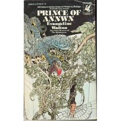 """""""Prince of Annwn"""" by Evangeline Walton. An excellent English prose retelling of the Welsh myth.  Subtitled as """"The First Branch of the Mabinogion""""  The intricate and delicately rendered front cover illustration trails over much of the back cover too."""