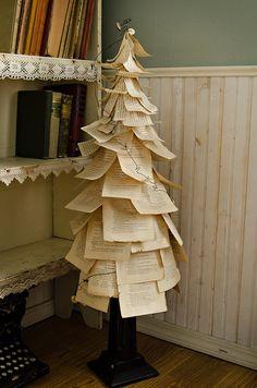 Vintage Book Paper Tree