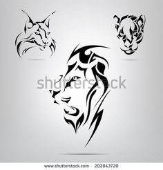 Graphic Silhouettes Of A Lion, Lynx And Panther. Vector Illustration - 202843720 : Shutterstock