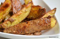 Cartofi la cuptor cu usturoi si parmezan reteta de garlic parmesan wedges | Savori Urbane Parmezan, Sausage, Wedges, Food, Diana, Handmade, Hand Made, Sausages, Essen