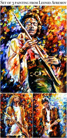 """""""My three most favorite musicians paintings"""" by Leonid Afremov…"""