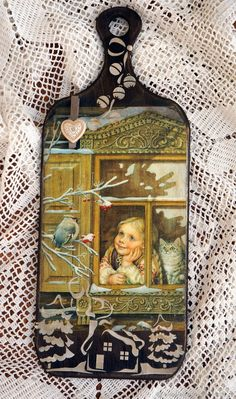 Christmas Gift Box, Christmas Signs, Christmas Decoupage, Decoupage Box, Retro Girls, Sign Sign, Frame, Gifts, Home Decor
