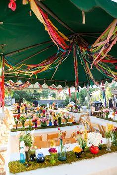 Mainly purple, blue (differing shades) and white. Colorful Wedding Decor by shauna Wedding Usa, Summer Wedding, Diy Wedding, Wedding Reception, Dream Wedding, Wedding Ideas, Fantasy Wedding, Wedding Crafts, Wedding Table