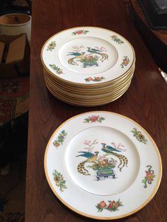 CAULDON LTD ENGLAND VINTAGE ELEGANT GOLD TRIM PEACOCKS ORIENTAL 12 DINNER PLATES