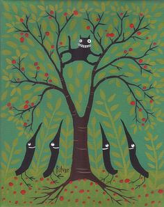 Cat Stuck In Tree, Crows Looking Up by Sara Pulver