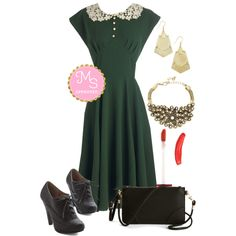 In this outfit: Dancing Date Dress in Fern, Style Impulse Earrings, Boom, Clap! Bracelet, Lip Stain in Suedeberry, Attention to Retail Clutch in Black, Flying First-Sass Heel in Black