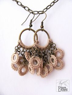 crochet cotton fiber textile earrings