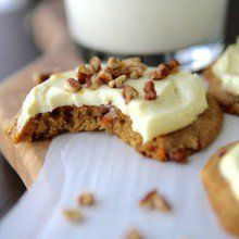 Carrot Cake Pecan Cookies with Orange Cream Cheese Frosting at laurenslatest.com