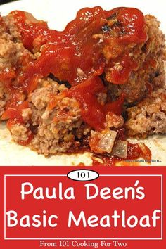 Paula Deen's Basic Meatloaf from 101 Cooking for Two Tasty, moist everyday basic meatloaf adapted from a Paula Deen recipe at Food Network. via 101 Cooking for Two Basic Meatloaf Recipe, Meat Loaf Recipe Easy, Best Meatloaf, Meat Recipes, Cooking Recipes, Dinner Recipes, Meatloaf Recipe Paula Deen, Paula Deen Seasoning Recipe, Shrimp Recipes