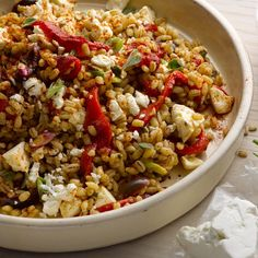 Farro and roasted red pepper salad I Ottolenghi recipes I This ancient variety of wheat, when accompanied by shamelessly bold flavours, has a unique nuttiness and a great texture.