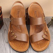2016 verano nuevo cuero de microfibra sandalia del estilo coreano cómodo Casual hombres de zapatos de playa(China (Mainland))