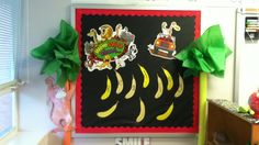 My reading bulletin board. Wild about reading! Using noodles and tissue papers for palm trees.